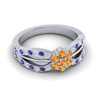 Simple Floral Pave Kalikda Citrine Ring with Blue Sapphire and Diamond in Platinum