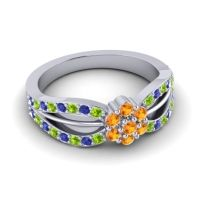 Simple Floral Pave Kalikda Citrine Ring with Blue Sapphire and Peridot in Palladium