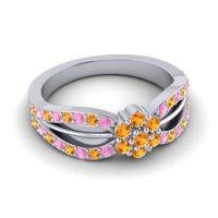 Simple Floral Pave Kalikda Citrine Ring with Pink Tourmaline in Platinum