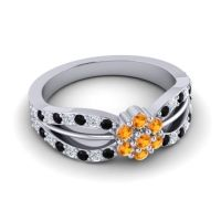 Simple Floral Pave Kalikda Citrine Ring with Diamond and Black Onyx in Palladium