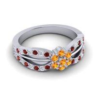 Simple Floral Pave Kalikda Citrine Ring with Diamond and Garnet in Platinum