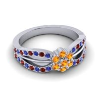 Simple Floral Pave Kalikda Citrine Ring with Garnet and Blue Sapphire in Palladium
