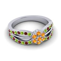 Simple Floral Pave Kalikda Citrine Ring with Garnet and Peridot in Platinum