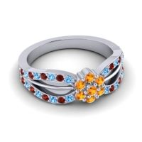 Simple Floral Pave Kalikda Citrine Ring with Garnet and Swiss Blue Topaz in 14k White Gold