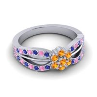 Simple Floral Pave Kalikda Citrine Ring with Pink Tourmaline and Blue Sapphire in 14k White Gold