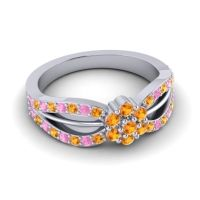 Simple Floral Pave Kalikda Citrine Ring with Pink Tourmaline in 14k White Gold