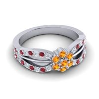 Simple Floral Pave Kalikda Citrine Ring with Ruby and Diamond in 18k White Gold