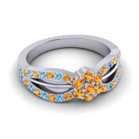 Simple Floral Pave Kalikda Citrine Ring with Swiss Blue Topaz in Palladium