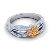 Simple Floral Pave Kalikda Citrine Ring with Swiss Blue Topaz and Diamond in 14k White Gold