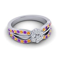 Simple Floral Pave Kalikda Diamond Ring with Amethyst and Citrine in 18k White Gold