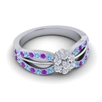 Simple Floral Pave Kalikda Diamond Ring with Amethyst and Swiss Blue Topaz in Palladium
