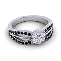 Simple Floral Pave Kalikda Diamond Ring with Black Onyx in 18k White Gold