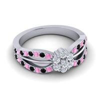 Simple Floral Pave Kalikda Diamond Ring with Black Onyx and Pink Tourmaline in 18k White Gold