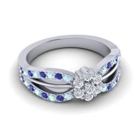 Simple Floral Pave Kalikda Diamond Ring with Blue Sapphire and Aquamarine in Palladium