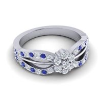 Simple Floral Pave Kalikda Diamond Ring with Blue Sapphire in Platinum
