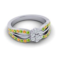 Simple Floral Pave Kalikda Diamond Ring with Citrine and Peridot in Platinum