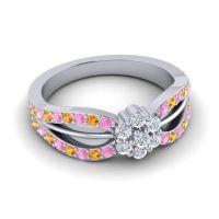 Simple Floral Pave Kalikda Diamond Ring with Citrine and Pink Tourmaline in Platinum