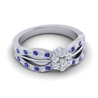 Simple Floral Pave Kalikda Diamond Ring with Blue Sapphire in 18k White Gold