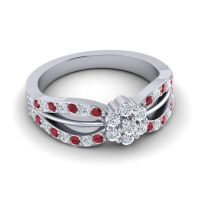 Simple Floral Pave Kalikda Diamond Ring with Ruby in Palladium