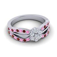 Simple Floral Pave Kalikda Diamond Ring with Garnet and Pink Tourmaline in 18k White Gold