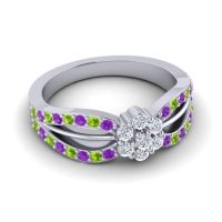 Simple Floral Pave Kalikda Diamond Ring with Peridot and Amethyst in 18k White Gold