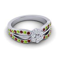 Simple Floral Pave Kalikda Diamond Ring with Peridot and Garnet in Palladium