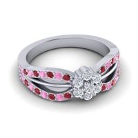 Simple Floral Pave Kalikda Diamond Ring with Pink Tourmaline and Ruby in 18k White Gold