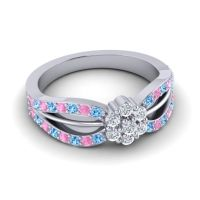 Simple Floral Pave Kalikda Diamond Ring with Pink Tourmaline and Swiss Blue Topaz in 14k White Gold
