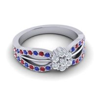 Simple Floral Pave Kalikda Diamond Ring with Ruby and Blue Sapphire in 18k White Gold