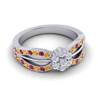 Simple Floral Pave Kalikda Diamond Ring with Ruby and Citrine in Platinum
