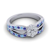 Simple Floral Pave Kalikda Diamond Ring with Swiss Blue Topaz and Blue Sapphire in 18k White Gold