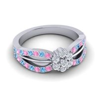 Simple Floral Pave Kalikda Diamond Ring with Swiss Blue Topaz and Pink Tourmaline in 14k White Gold