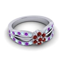 Simple Floral Pave Kalikda Garnet Ring with Amethyst and Aquamarine in 18k White Gold