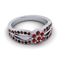 Simple Floral Pave Kalikda Garnet Ring with Black Onyx in 14k White Gold
