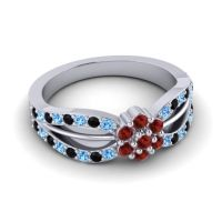 Simple Floral Pave Kalikda Garnet Ring with Black Onyx and Swiss Blue Topaz in Platinum