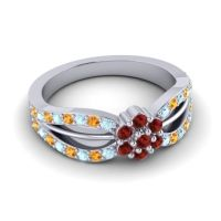 Simple Floral Pave Kalikda Garnet Ring with Citrine and Aquamarine in 14k White Gold