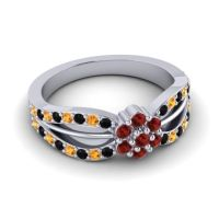 Simple Floral Pave Kalikda Garnet Ring with Citrine and Black Onyx in 18k White Gold