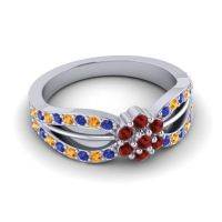 Simple Floral Pave Kalikda Garnet Ring with Citrine and Blue Sapphire in 14k White Gold