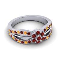 Simple Floral Pave Kalikda Garnet Ring with Citrine in 14k White Gold
