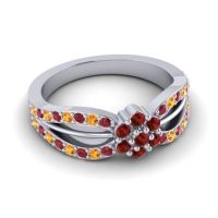 Simple Floral Pave Kalikda Garnet Ring with Citrine and Ruby in 18k White Gold