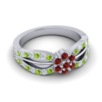 Simple Floral Pave Kalikda Garnet Ring with Diamond and Peridot in 14k White Gold