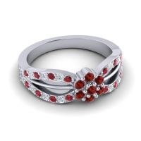 Simple Floral Pave Kalikda Garnet Ring with Diamond and Ruby in Platinum