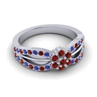 Simple Floral Pave Kalikda Garnet Ring with Blue Sapphire in Platinum