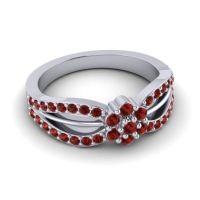 Simple Floral Pave Kalikda Garnet Ring in 18k White Gold