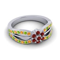 Simple Floral Pave Kalikda Garnet Ring with Peridot and Citrine in Palladium