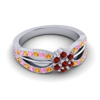 Simple Floral Pave Kalikda Garnet Ring with Pink Tourmaline and Citrine in 18k White Gold