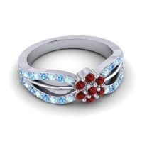 Simple Floral Pave Kalikda Garnet Ring with Swiss Blue Topaz and Aquamarine in 18k White Gold