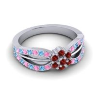 Simple Floral Pave Kalikda Garnet Ring with Swiss Blue Topaz and Pink Tourmaline in Platinum