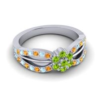 Simple Floral Pave Kalikda Peridot Ring with Aquamarine and Citrine in Platinum