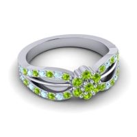 Simple Floral Pave Kalikda Peridot Ring with Aquamarine in 18k White Gold